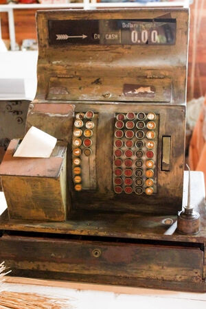 general store: A vintage, wooden cash register from an old country general store
