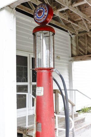 general store: A vintage gas pump in front of an old country general store