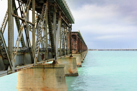 gulf of mexico: Abandoned Flagler Bridge in the Florida Keys as it spans across the Gulf of Mexico