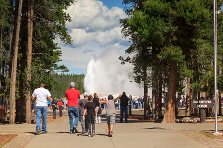 Enthusiastic tourists rush to view the Old Faithful Geyser as it erupts in Midway Geyser Basin, Yellowstone National Park Banco de Imagens