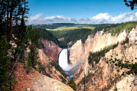 The beauty and power of the lower falls in Canyon, Yellowstone National Park in Wyoming