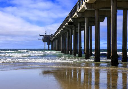 Looking out into the Pacific Ocean near the famous Scripps Pier in La Jolla, San Diego, California 写真素材