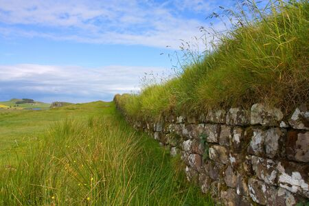 Detail of stone work of Hadrians Roman Wall, northumberland. photo