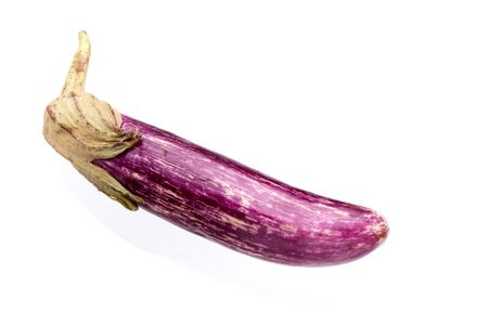 Thin Purple Aubergine with stalk isolated against white background. Stock Photo - 5557758
