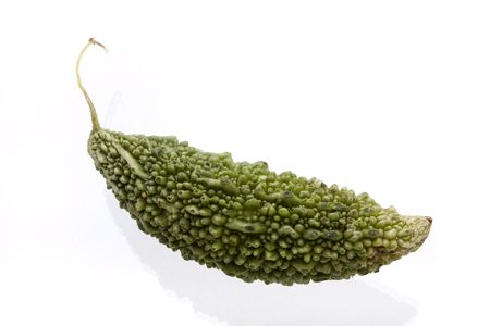 gua: Green Karela Fruit  also known as bitter melon used in asian and Indian cooking. isolated  Stock Photo