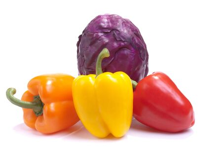 vegtables: a selection of Brightly Coloured Vegtables isolated against white background.