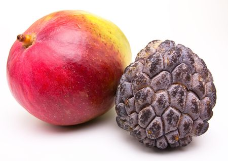 scaly custard apple: Mango and Custard Apple Tropical Fruit isolated against white background.