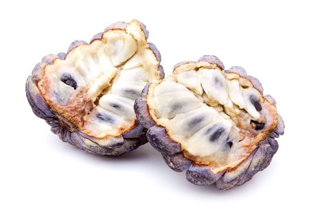 scaly custard apple: Exotic custard apple isolated against white background.