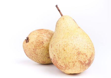 rocha: Fresh Rocha Pear isolated against white background. Stock Photo