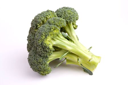 Vibrant green broccolli head isolated against white background.