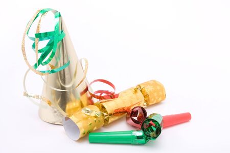 christmas cracker: Christmas  new years eve party concept image against white. Stock Photo