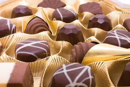 Close up of a Heart shaped box of luxury Valentine Chocolates. photo