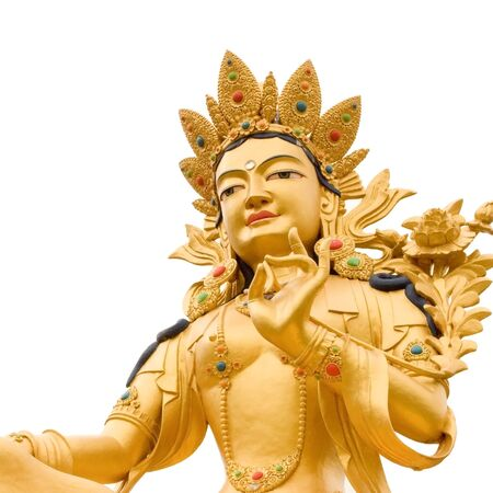buddhism: Golden Buddah statue of Green Tara a Tibetan buddhist God against white background.