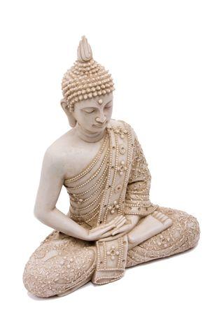 buda: Estatua de Buda close up aislados sobre fondo blanco.  Foto de archivo