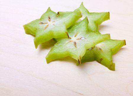 unripe: Unripe Asian Star Fruit isolated against white background.