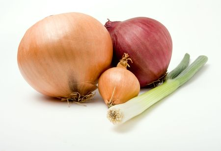 A selection of vaus onions from the Onion Family isolated against white background. Stock Photo - 6486931