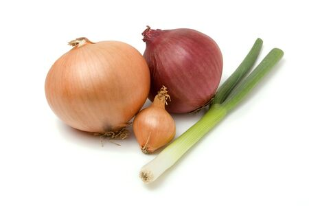 A selection of various onions from the Onion Family isolated against white background. photo