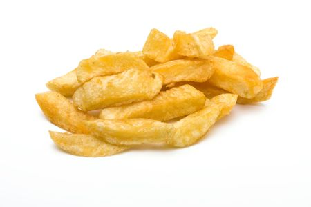 pomme: English Chip shop chips isolated against white background.