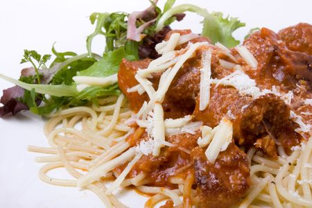 home cooked: Home Cooked Meatballs with spaghetti and salad garnish Stock Photo