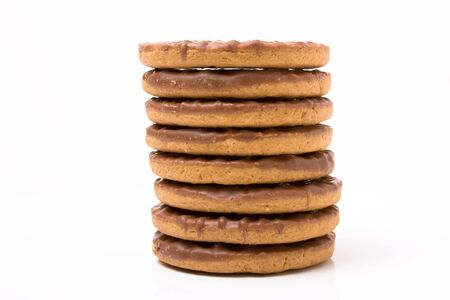 Stack of Chocolate Digestive biscuits isolated against white background. Stock Photo - 6641020