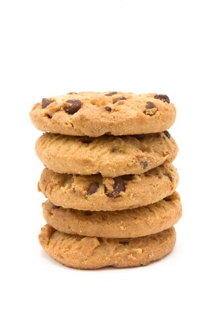 Tower of Choc Chip n Hazelnut Biscuits from low viewpoint isolated against white background. Stock Photo - 6692765