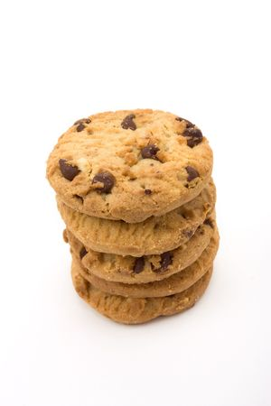 Tower of Choc Chip n Hazelnut Biscuits from low viewpoint isolated against white background. Stock Photo - 6692781