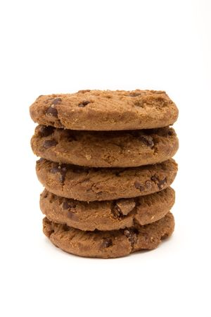 Tower of Double Choc Chip Biscuits from low viewpoint isolated against white background. Stock Photo - 6692774