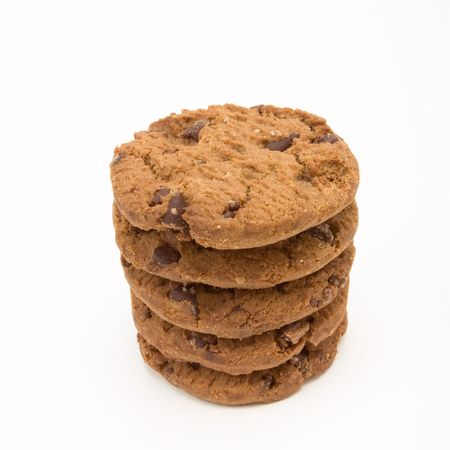 Tower of Double Choc Chip Biscuits from low viewpoint isolated against white background. Stock Photo - 6692780