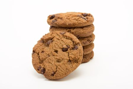 Tower of Double Choc Chip Biscuits from low viewpoint isolated against white background. Stock Photo - 6692732
