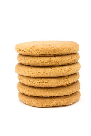 Tower of Ginger Snap Biscuits from low viewpoint isolated against white background. Stock Photo - 6692777