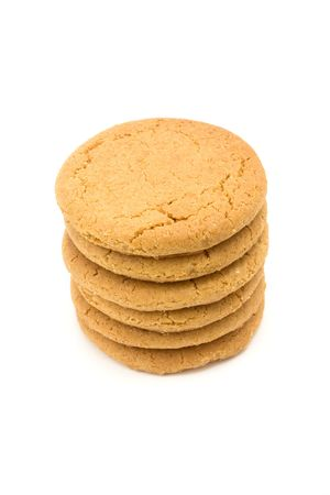 Tower of Ginger Snap Biscuits from low viewpoint isolated against white background. Stock Photo - 6692783