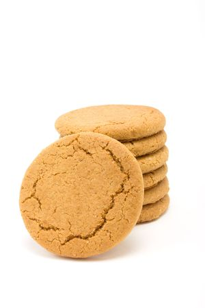 Tower of Ginger Snap Biscuits from low viewpoint isolated against white background. Stock Photo - 6692776
