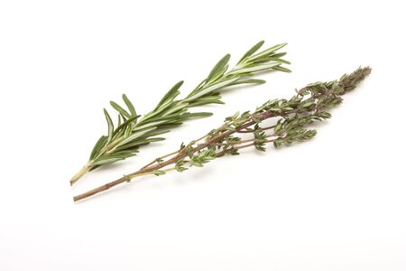 sprigs: Sprigs of Rosemary and Thyme isolated against white background. Stock Photo