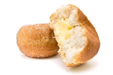 Custard filled Donut isolated against white background. Stock Photo - 6828173