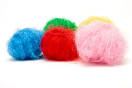 mohair: selection of Vibrant Mohair wool isolated against white background. Stock Photo