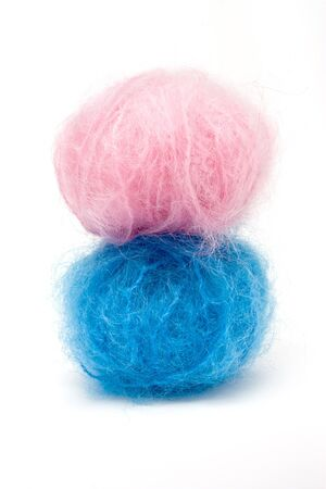 mohair: Conceptual image of Baby Pink n Blue mohair wool to illustrate is it a boy or girl?