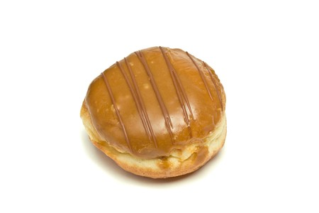 Custard Filled and chocolate covered Dougnut isolated against white background. Stock Photo - 6966478