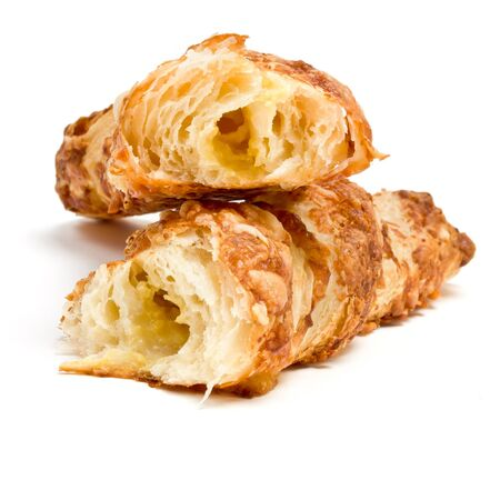 low perspective: Cheese Twist Pastry from low perspective isolated against white background