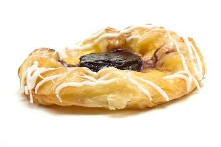 Blueberry Danish Pastry isolated against white background. photo