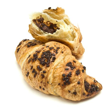 french pastry: Chocolate Croissant French Pastry isolated against white background. Stock Photo
