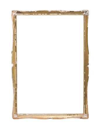 Shabby distressed plater and wood moulded picture frame isolated on white background. photo