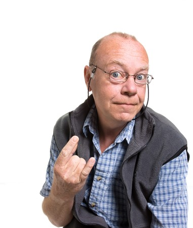 Expressive old man rapping isolated against white background. Stock Photo - 7118550