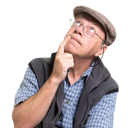 goofy: Expressive old man thinking isolated against white background.