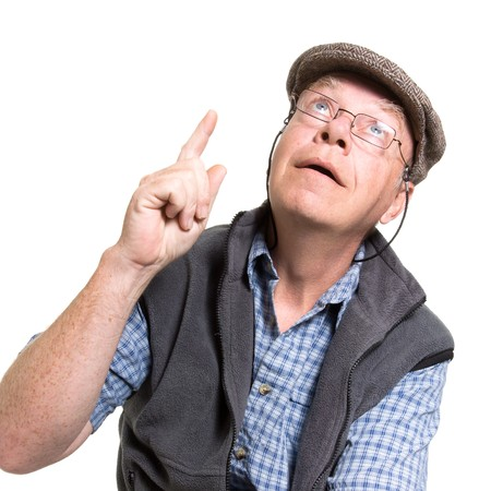 dork: Expressive old man pointing isolated against white background.