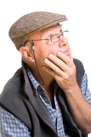 Expressive old man thinking isolated against white background. Stock Photo - 7118543