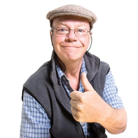 friki: Expresiva anciano renunciar pulgares aislados sobre fondo blanco. Foto de archivo