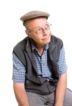 Expressive old man ogling isolated against white background. photo