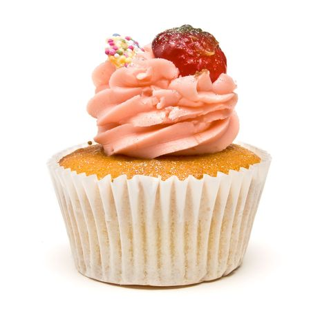 muffins: Luxury Strawberry Cup Cake from low perspective isolated against white background.