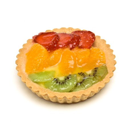 Custard filled tart topped with summer fruits of Strawberry, mandarin orange and kiwi fruit. Stock Photo - 7331209