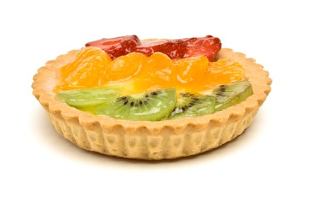 Custard filled tart topped with summer fruits of Strawberry, mandarin orange and kiwi fruit. Stock Photo - 7331244